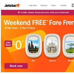 [Jetstar] $0^ fares to Bali, Jakarta and more! 3 days only, book now.