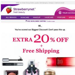 [StrawberryNet] , 24 HRS LEFT to Enjoy Extra 20% Off + FREE Shipping!