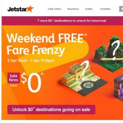 [Jetstar] 🔑 Unlock $0^ fares to 7 other destinations this week!