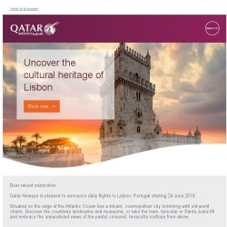 [Qatar] Uncover the cultural heritage of Lisbon. Flights starting 24 June 2019.
