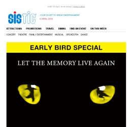 [SISTIC] CATS - Now on sale! Enjoy 15% off the Early Bird Special for Andrew Lloyd Webber's beloved musical.