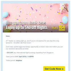 [cheaptickets.sg]  Eggs-traordinary Easter Deals! Up to $40 OFF flights!