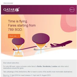 [Qatar] Exclusive online-only offers. Fares starting from 789 SGD.