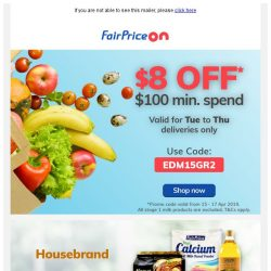 [Fairprice] Delivery Special: $8 OFF $100!