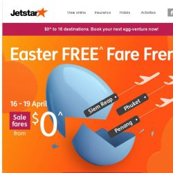 [Jetstar] 🐰 4 days only! Easter FREE^ Fare Frenzy starts now. Get cracking.