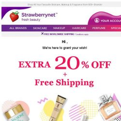 [StrawberryNet] , Enjoy an Extra 20% Off Everything from your Beauty Genie