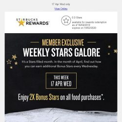 [Starbucks] Enjoy 2x Bonus Stars on all food purchases
