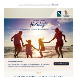[Singapore Airlines] Unbelievable Holidays at Unbelievable Prices