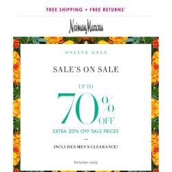 [Neiman Marcus] Last day: Up to 70% off + double gift card offer