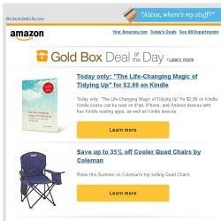 """[Amazon] Today only: """"The Life-Changing Magic of Tidying..."""