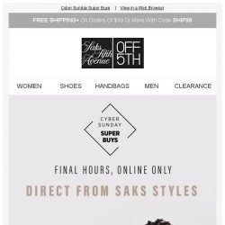 [Saks OFF 5th] BCBGeneration on your mind? + Final Hours: Up to 80% off Oscar de la Renta, Giorgio Armani & more