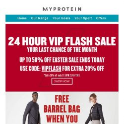 [MyProtein] Shop up to 50% off + VIPs get extra 20%!