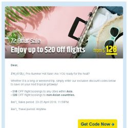[cheaptickets.sg]  72 HOURS HOT SALE  Additional $20 flight discount