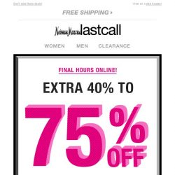 [Last Call] ⏳ Last chance for an extra 40%–75% off women's apparel