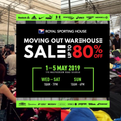Royal Sporting House: Moving Out Warehouse Sale with Up to 80% OFF Sports Apparel & Accessories from Reebok, Adidas, Under Armour, Nike & More!
