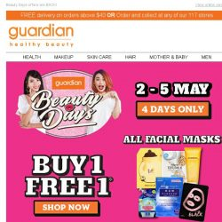 [Guardian] ✨ BUY 1 FREE 1 on ALL Facial Masks!