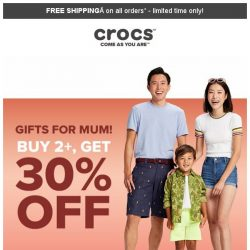 [Crocs Singapore] VIP ONLY Special Gifts for MUM! Extra 30% + Additional $10 off!