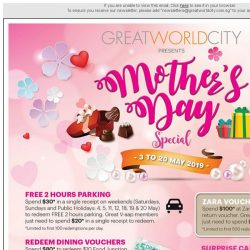 [Great World City]  Great World City Presents Mother's Day Special (3 - 20 May)