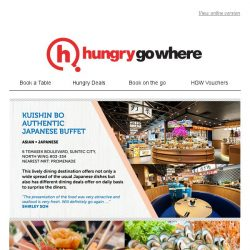 [HungryGoWhere] Buffet from SGD84 for 2 adults and 1 child, 50% off total bill, and more - from Kuishin Bo Authentic Japanese Buffet