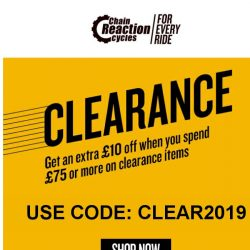 [Chain Reaction Cycles] Your Top 9 Clearance! Trending. Right. Now.