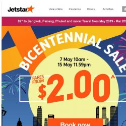 [Jetstar]  Bicentennial sale fares from $2^ to Bangkok, Phuket and more! Fastest fingers first.