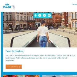 [KLM] Last seats: claim your KLM flight deal!