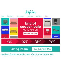 [HipVan] Up to 40% End of Season Sale! Don't miss out!
