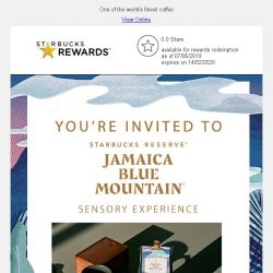 [Starbucks] You're invited: Experience Jamaica Blue Mountain® with us at Starbucks Jewel Changi Airport