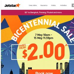 [Jetstar] ⏳ 5 days left! Bicentennial sale fares from $2^, don't miss out.