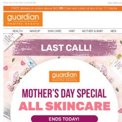 [Guardian]  Your $18 off promo code expires today!