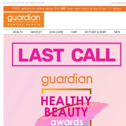 [Guardian]  2 Days left to vote for Guardian Healthy & Beauty Awards 2019!