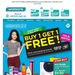 [Watsons] 1 DAY ONLY Watsons Brand Day!  Buy 1 Get 1 Free +  Digital Bathroom Scale at $9.90 only! 