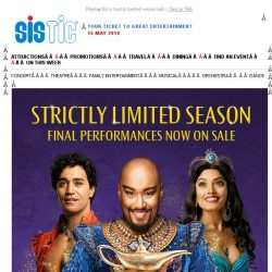 [SISTIC] Disney's Aladdin - Final performances now on sale with 10% off tickets!