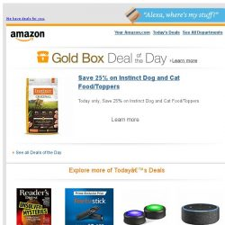 [Amazon] Save 25% on Instinct Dog and Cat Food/Toppers