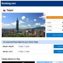 [Booking.com] Deals in Taipei from S$ 132
