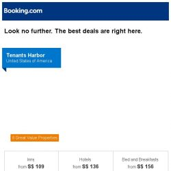 [Booking.com] Tenants Harbor, Ninglang, or Taipei? Get great deals, wherever you want to go