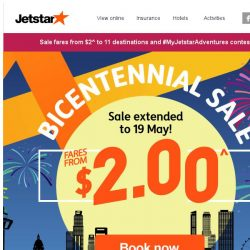 [Jetstar]  Final call! ✈ Last 2 days to book sale fares from $2^ to Phuket, Jakarta and more.