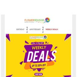 [Floweradvisor] ⚡ Weekly Deals: New Arrangement With Extra Up To 30% OFF!