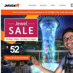 [Jetstar] ✈ Ending tonight! Don't miss out on Jewel sale fares to 20 destinations.