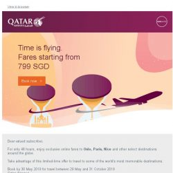 [Qatar] Exclusive online-only fares starting from 799 SGD to Oslo, Paris and more