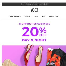 [Yoox]  20% OFF your favorite footwear and much more…