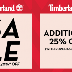 Timberland: Summer Sale with Up to 40% OFF + Additional 25% OFF Footwear & Apparel In Stores!