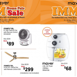 Mayer: IMM Home Fair Sale with Up to 60% OFF All Home Appliances!