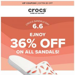 [Crocs Singapore] VIP ONLY Enjoy 36% off + Extra $5 off on ALL Sandals!