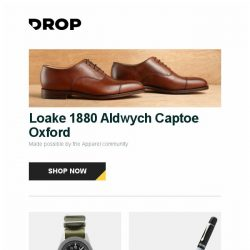 [Massdrop] Loake 1880 Aldwych Captoe Oxford, Manchester Watch Works Rattler Automatic Watch, Pelikan M101N Gray-Blue Fountain Pen and more...