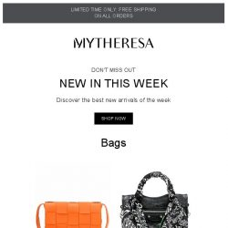 [mytheresa] Don't miss out: 800+ new arrivals this week + limited time free shipping