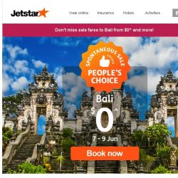 [Jetstar] ⏳ Ends tonight! Book $0^ to Bali or other Spontaneous Sale fares now.