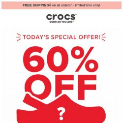 [Crocs Singapore] TODAY ONLY  Find out what's 60% OFF!