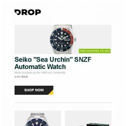 """[Massdrop] Seiko """"Sea Urchin"""" SNZF Automatic Watch, Orient Mako III Automatic Watch, MTG War of the Spark Booster Box + Bundle and more..."""