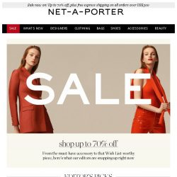 [NET-A-PORTER] Editor-approved Sale items now up to 70% off